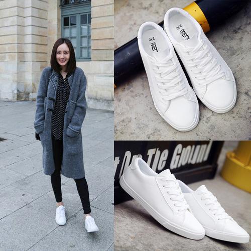 明星同款系带小白鞋潮流百搭学院纯色休闲板鞋鞋女平底皮面帆布鞋