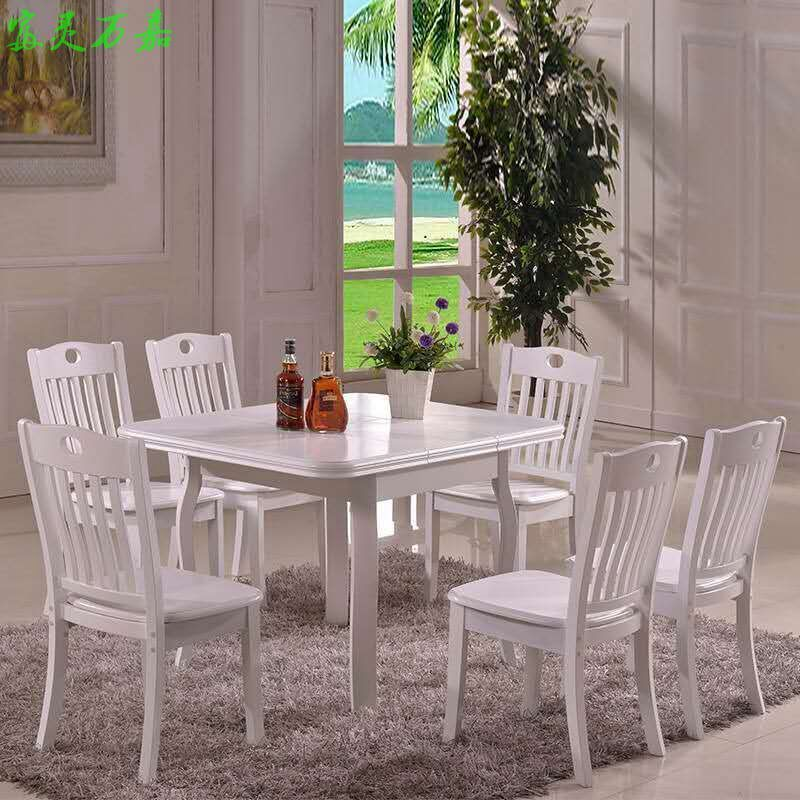 Small size solid wood dining table, oak table and chair telescopic small table, special price solid wood table package mail
