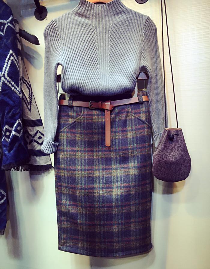 2017秋鼕新款假口袋半身裙女包臀一步裙中裙加厚格子裙呢子包裙