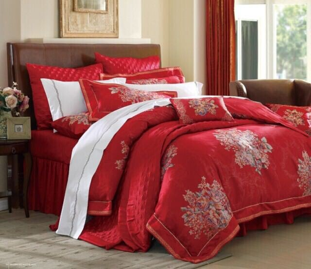 Jede textile shop in rose wedding bed nine piece four piece silk festive red