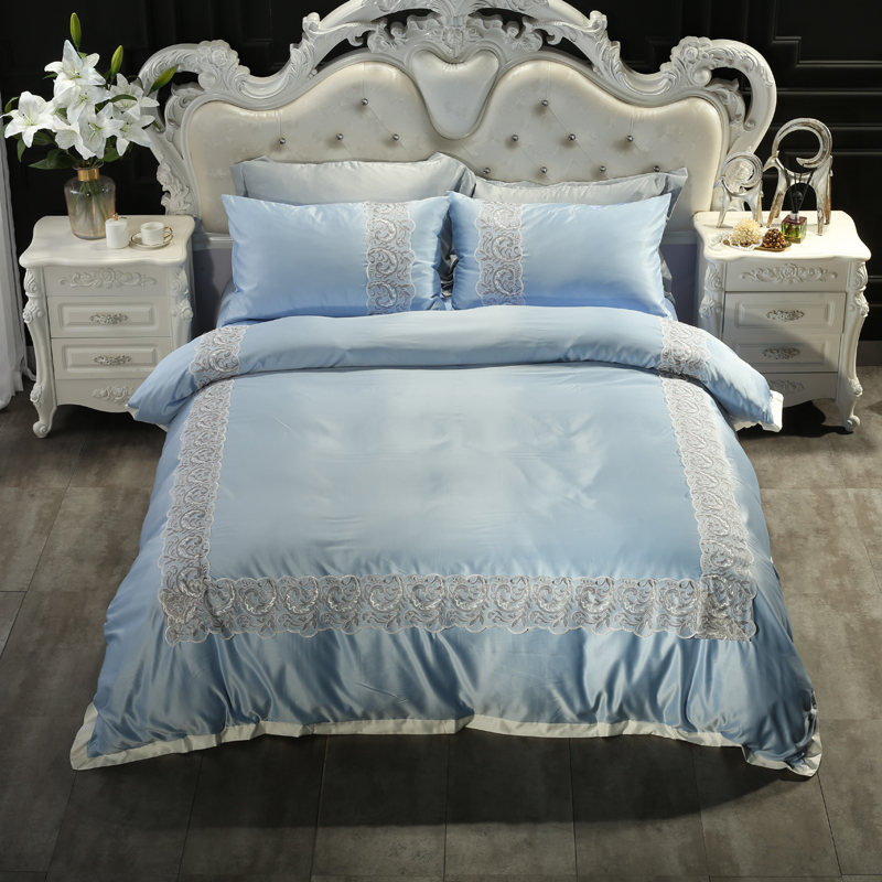 The explosion washed silk bedding European style four piece set store mail delivery