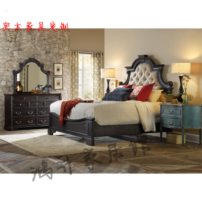 Special Mediterranean Caroline solid wood bed, French carved, old retro double bed, American style rustic antique furniture