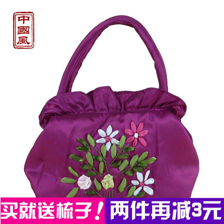 民族風女包繡花手提手拎小帆布包中年媽媽買菜手拿零錢包迷你包包