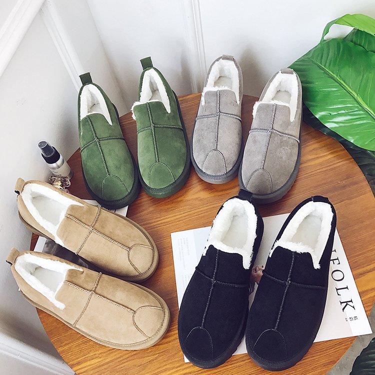 豆豆棉鞋女冬季保暖加绒韩版百搭学生一脚蹬特大码41 42 43女鞋