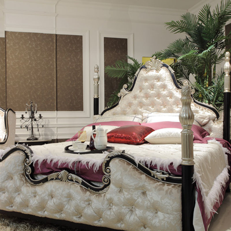 The new classical solid wood bed bed bed 1.8 double bedroom furniture carved by soft cloth cloth bed bed bed