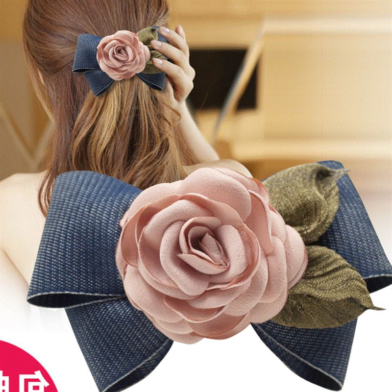 Big Bow Headband girl clip crystal jewelry materials vertical fresh hair clips all-match hairpin clip