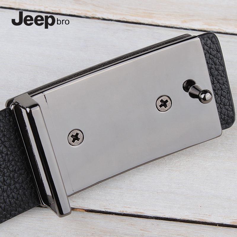 jeepbro男性板バックル本革ベルト牛革ベルト平滑スナップを留める狭い項靑年シンプル百搭
