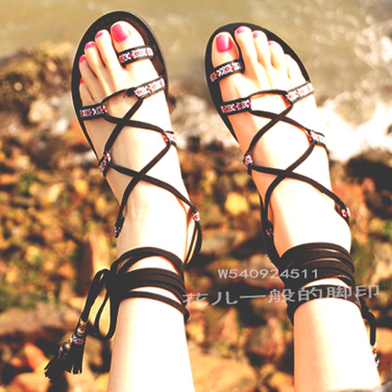 民族风绑带凉鞋女夏2017新款罗马平底波西米亚沙滩鞋系带流苏凉鞋
