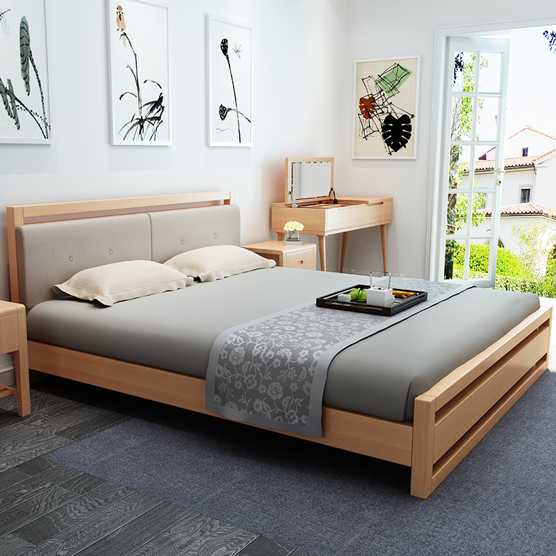 The new solid wooden beech 1.8 meters storage simple single bed double log 1.5m master Scandinavia