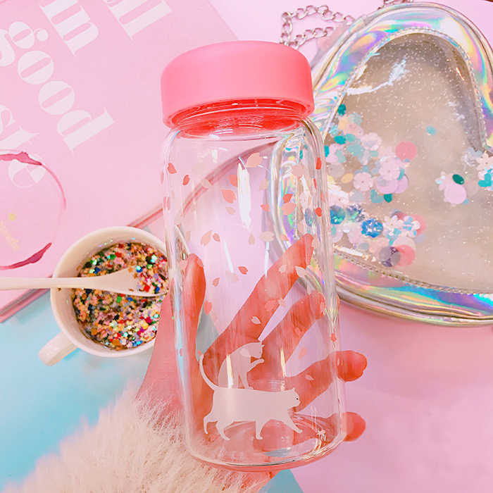 New cartoon day, soft girl, young girl, young girl, young girl, little fresh and simple cherry glass glass portable cup