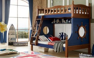 High and low beds on the Mediterranean, solid wood, bed out, all solid wood double bed, child bunk bed, upper and lower berth, mother and child bed