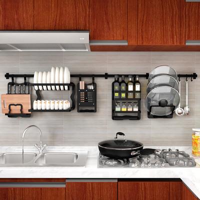 厨房置物架壁挂式挂杆太空铝挂架黑色刀架免打孔调味料锅盖架挂件
