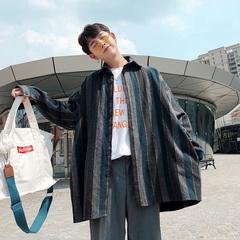 韩版毛呢料条纹衬衫男长袖中长款风衣宽松潮复古文艺外穿衬衣外套