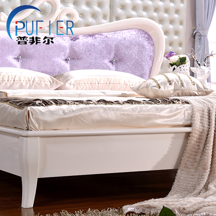 Modern double bed Sweet Princess Jane wood bed after modern storage bed bed series of Swan Lake