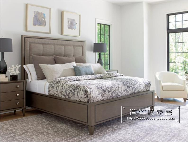 American wood bed bedroom modern Antique Old Oak bed linen upholstered bed weathered ash 1.8 meters double bed