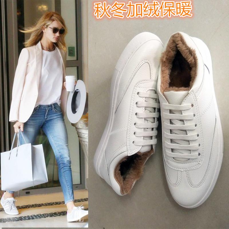 真皮小白鞋女加绒2016冬季休闲运动情侣鞋韩版系带板鞋白色平底鞋