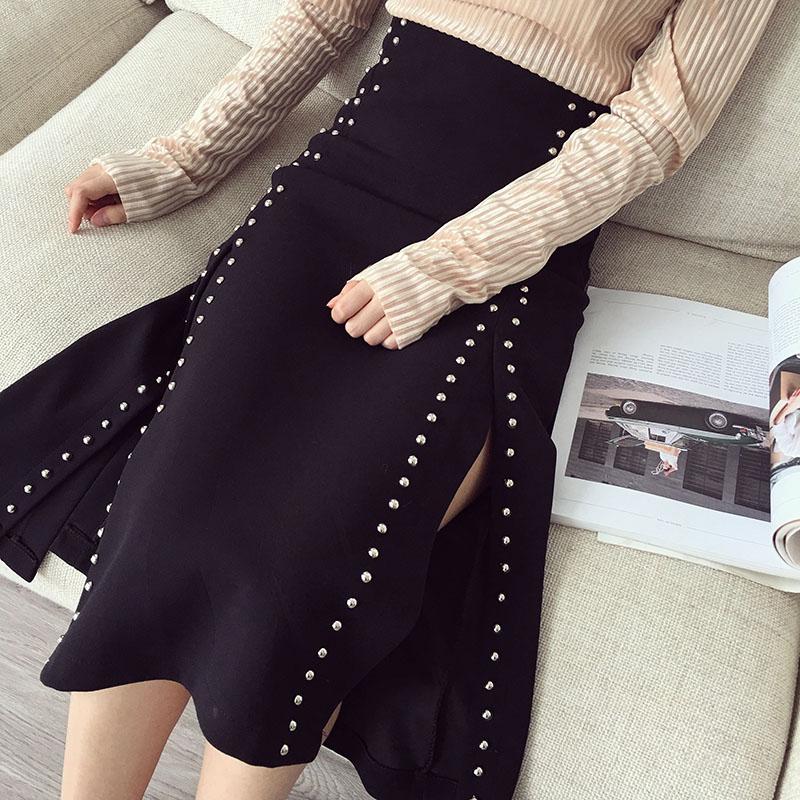 女裝春裝2017新款潮韓版復古時尚柳釘開叉高腰包臀半身裙女中長款
