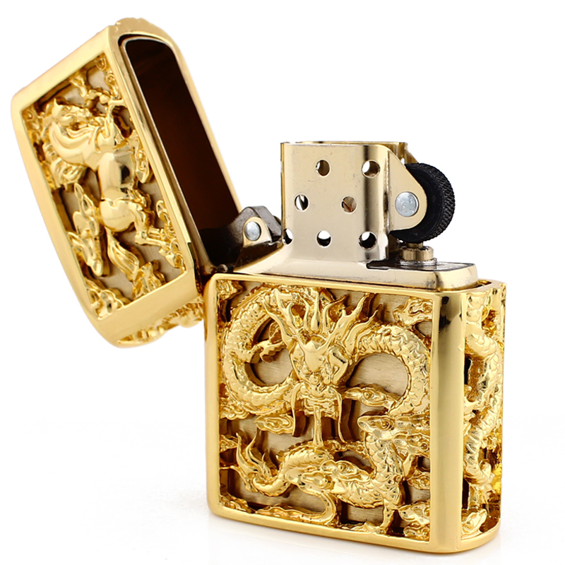 Genuine Zippo genuine Zippo Lighter copper Longma limited edition custom lettering creative flagship store