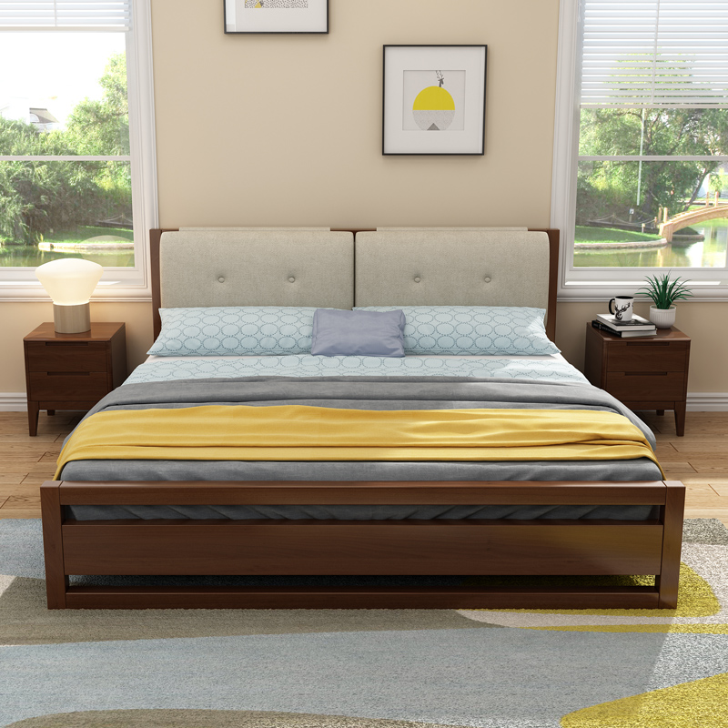 The Japanese solid wood bed 1.8 meters double bed 1.5M 1.2 single bed in the bedroom by simple soft bed