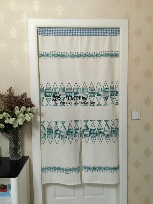 Die post Baumwolle, Leinen, tuch - vorhang zakka Feng - Shui - vorhang des japanischen vorhang grün Fisch MIT vorhang