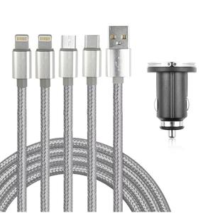 车载手机充电器数据线一拖三充电线车用USB点烟器通用手机充电器