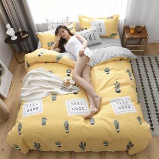 加厚100%纯全棉磨毛四件套长绒棉单被套床单三件套学生卡通床品