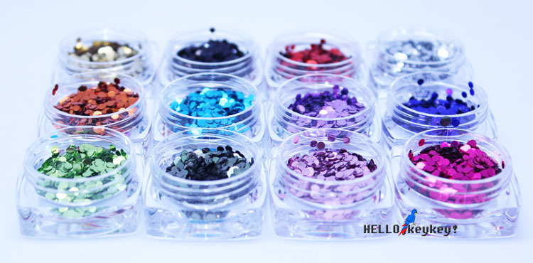 Manicure supplies, tools, phototherapy sets, nail polish, laser powder imports 2MM, round big sequins, 12 colors