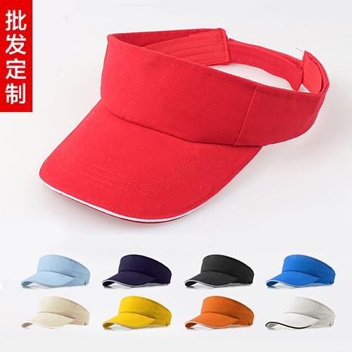 紅色可調節定制空頂帽工作帽印字遮陽帽廣告帽無頂夏季運動帽訂做印logo圖案