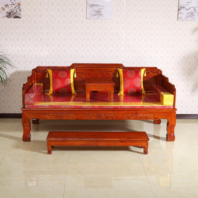 アンティーク彫り羅漢ベッド中国式木造羅漢明清ソファベッド寝込んだ楡アンティーク虎足羅漢ベッド