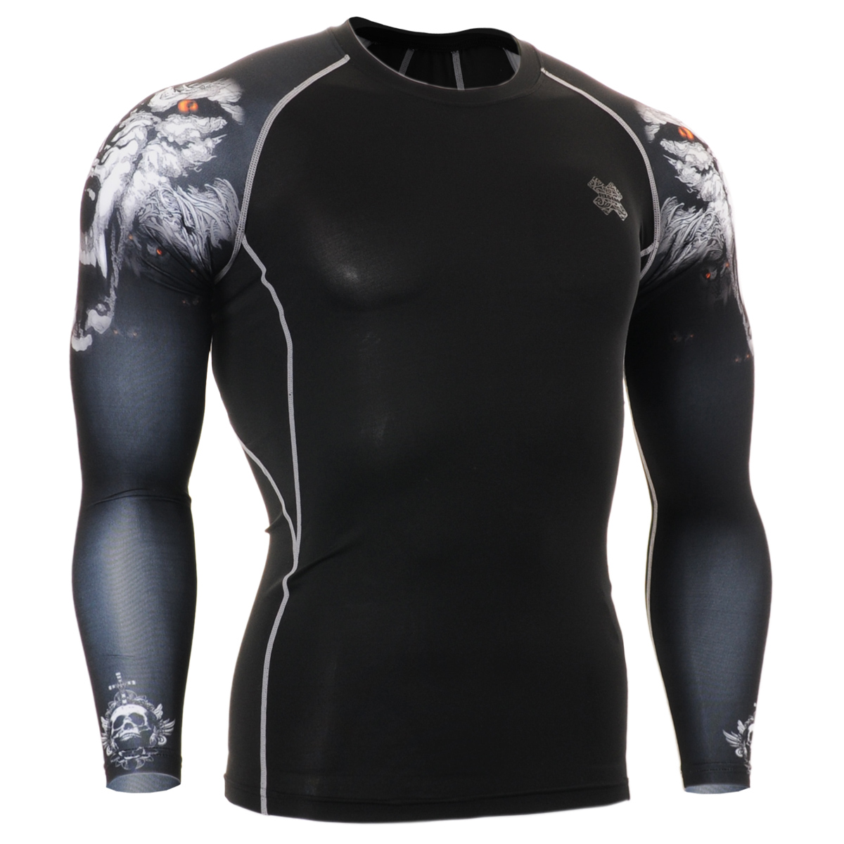 FIXGEAR sports men's arm long sleeved tights, fast drying breathable clothes, football, basketball, big yards can be customized