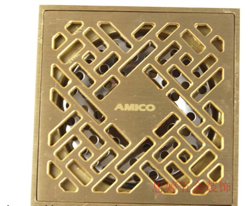 Auténtico amico BP6636 primavera 50 tubos de cobre contra la falta de drenaje rectangular de gran flujo de drenaje de la ducha de 10 cm