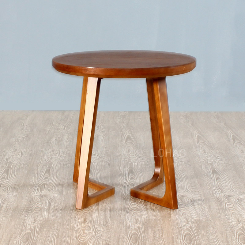 LOHAS European style solid wood coffee, small round table, American rubber wood round sofa, old simple tea table