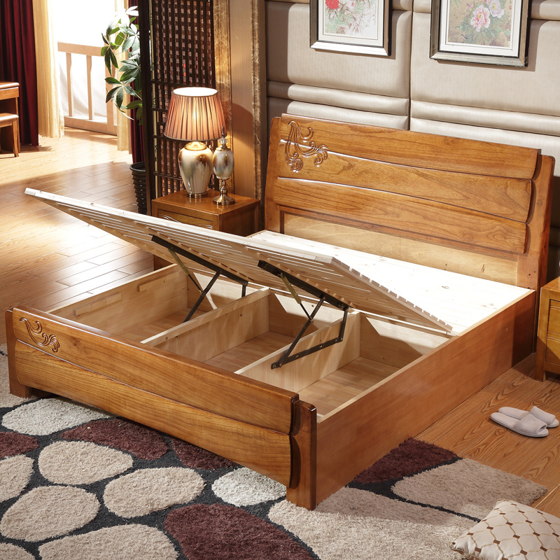 All solid wood bed furniture, children 1.2 single, 1.5 Princess oak 1.8 meters, bedside high box special double bed