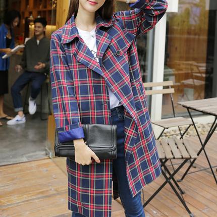 风衣女中长款2018秋季新款韩版百搭收腰修身格子时尚外套