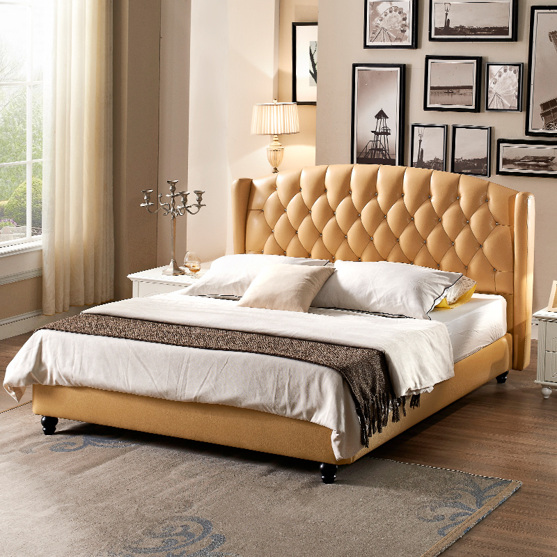 American style leather bed, pastoral Korean double bed, 1.8 meters small American country bed, European classical soft bed