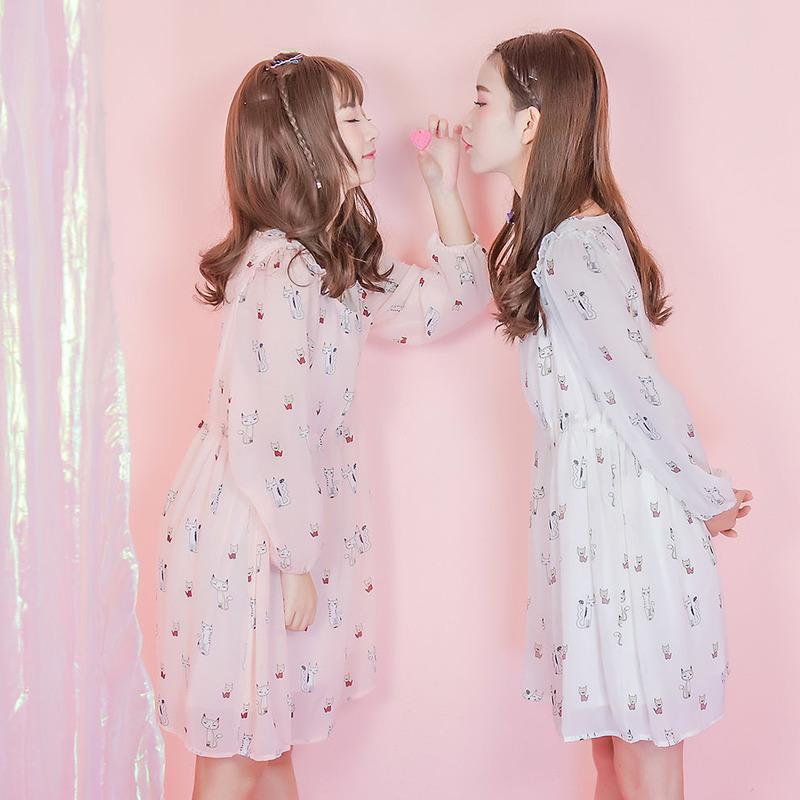 Váy nữ vải voan họa tiết in hoa họa tiết mặt mèo mẫu mới mùa thu