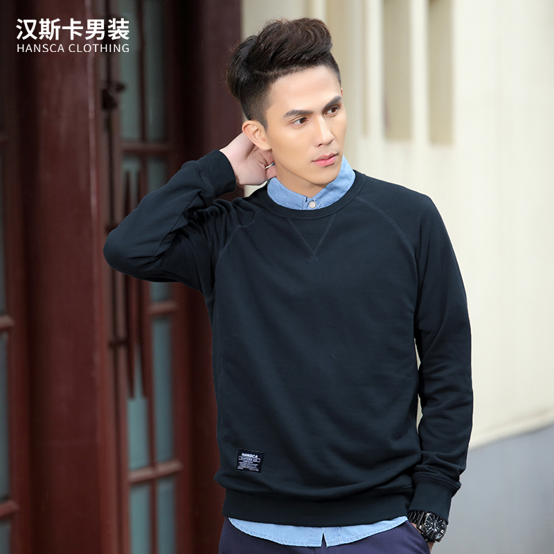 Hanska spring and autumn Korean color T-shirt sweater Mens Sport loose sleeve head tide male students