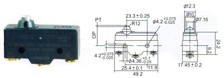микропревключвателя пътуване, смяна Z-15GD-B тапа кратко бутон тип