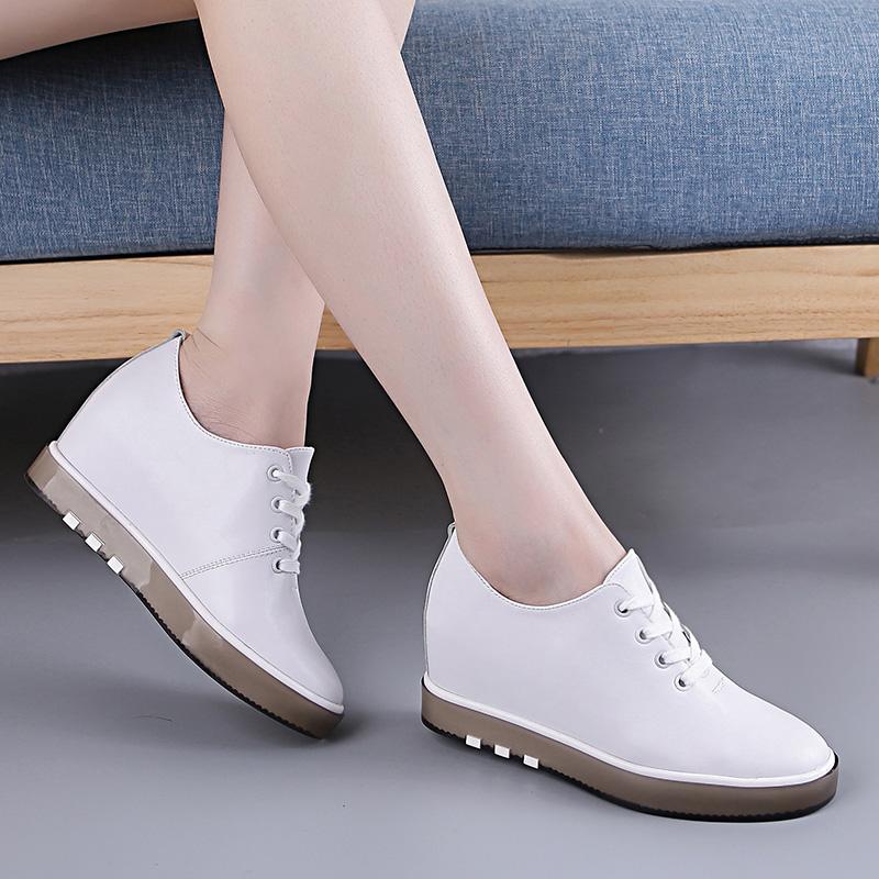 內增高女鞋秋季2017新款小白鞋韓版百搭英倫風小皮鞋休閑坡跟單鞋