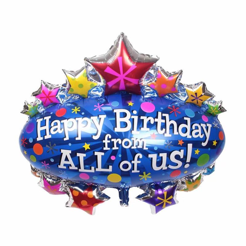 La chica de hombres grandes globos un toldo de la fiesta de cumpleaños de tirar globos de aluminio de decoración de globos de hidrógeno