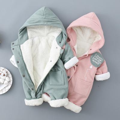 宝宝连体衣加绒婴儿秋冬装淘气麦兜3-12个月爬行服保暖幼儿外出服