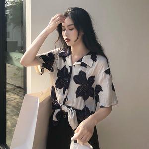 实拍8951# 韩版复古港风chic上衣宽松大花衬衫女短袖