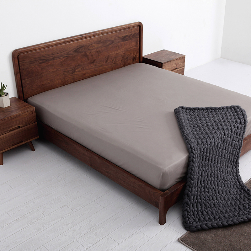 [life] Ueki red oak wood double bed logs all Nordic simple black walnut bed bedroom