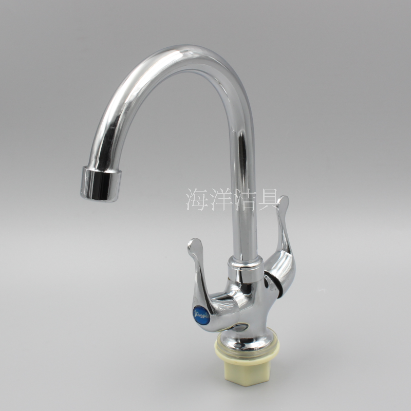 Double head single hole hot and cold hot water ceramic valve core for quick opening and rotary package promotion in kitchen sink