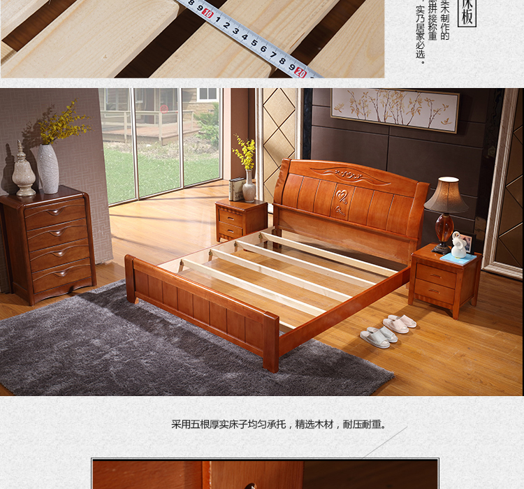 Yunnan Xishuangbanna meters double wooden pure oak wood bed Zhuwo simple Chinese wedding bed bed
