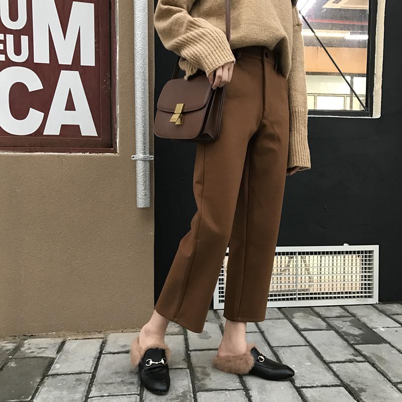 復古韓國chic風百搭西裝褲闊腿褲氣質新款顯瘦學生九分休閑褲潮女