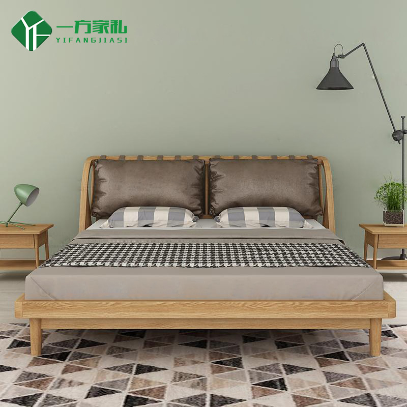 Nordic creative comfort can be customized solid wood beds, oak black walnut, single soft, double bed 1.5 meters, 1.8 meters