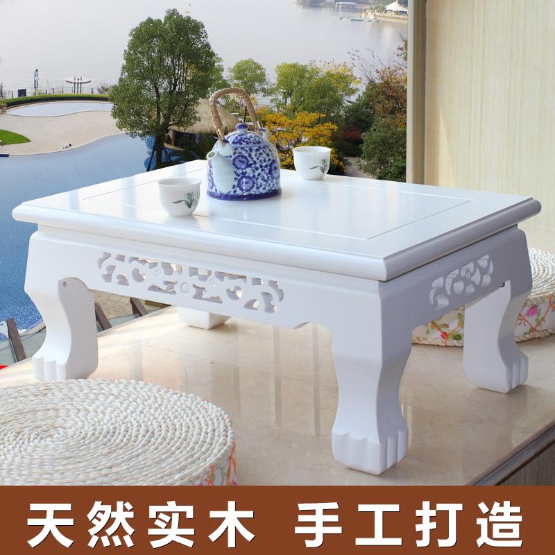 Tatami tea table of pure solid wood windows small tea table bed table table table platform short table Kung Fu Tea