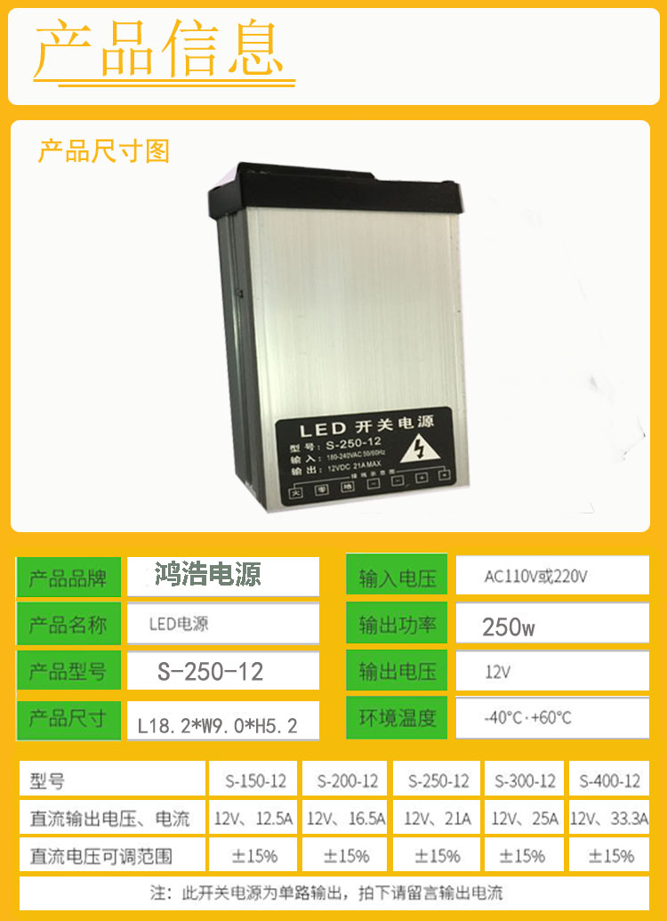 New type rain proof 12V250W switch power supply, outdoor LED signboard, luminous word light box transformer power supply