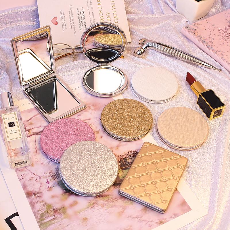 少女心便攜皮質化妝鏡迷你折疊隨身美容鏡圓形雙面鏡小鏡子